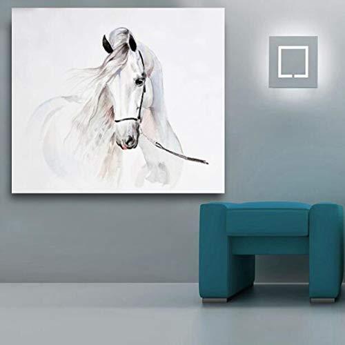 Dekorative andalusische Pferd Tier Aquarell Wandkunst Wohnzimmer Leinwand Öl Poster Home Dekoration Malerei als Bilder 60x75cm gerahmt