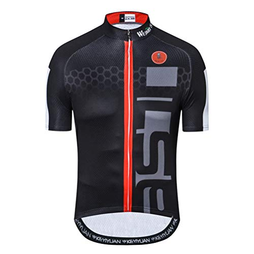 Maglia da ciclismo da uomo in jersey, a maniche corte, per ciclismo, attività all'aperto e mountain bike - nero - XL