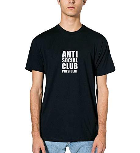 Anti Social Club President Quote_MRZ1465 Top t-Shirt 100% Algodón para Hombre, Camiseta para Verano, Regalo, Hombre, Camisa Casual - negro - XX-Large