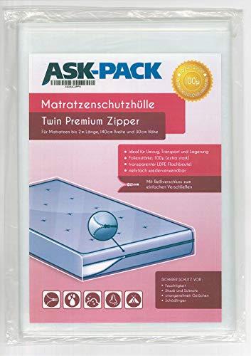 ASK Pack Housse De Protection Matelas Twin Premium (3. Génération) avec fermeture éclair pour largeur 140 cm / 30 cm de haut / 200 cm de longueur - EXTRA solide 100µ