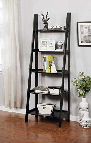 GTU Furniture 5 Wall Shelf Ladder Dark Cherry Wood Bookcase Bookshelf Plant Stand Storage Display (Black)
