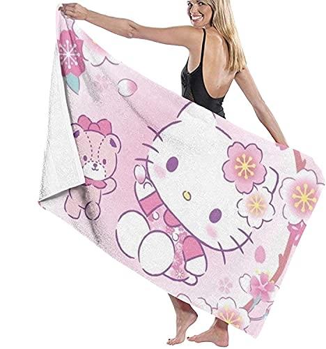 Proxiceen Telo da spiaggia in microfibra, grande, Hello Kitty, telo da spiaggia, ad asciugatura rapida, stile 2,90 x 180 cm