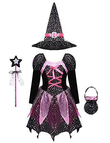 inlzdz 4 PCS Strega Costume Bambina Halloween Vestito di Streghetta Principessa Vestito + Cappello di Strega + Borsa + Banchetto Set Cosplay per Carnevale Festa Halloween A Nero 4-5 Anni