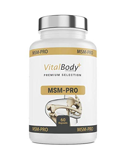 VitalBody+ MSM-PRO, 99,9% reines MSM Pulver in Kapseln + Vitamin C, Vitamin D, Vitamin K, Glucosamin&Calcium - für starke Gelenke - Laborgeprüft - Montaspackung - Deutsche Apotheken Qualität!