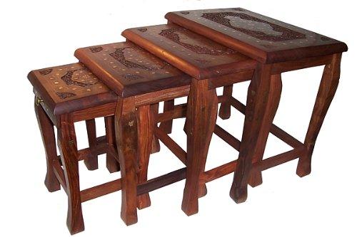 Set cuatro mesas madera diferentes tamaños mesitas auxiliares incrustaciones de latón artesanía