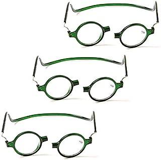 Ffggfgd Vidrios de Lectura 3 Pieza vidrios de Lectura Colgante/Hombre/Mujer lectora vidrios ópticos portátil Marco Redondo magnético Over-The-Counter Gafas,Verde,2.0