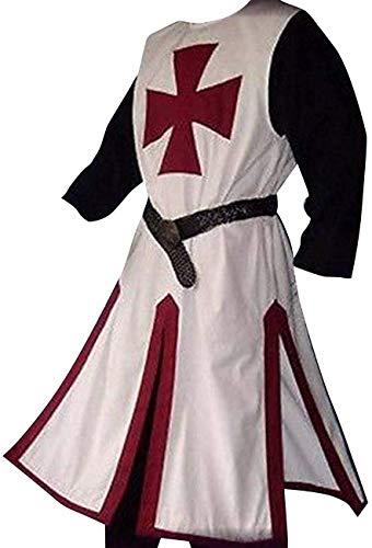 SIRENK Disfraz medieval de crucero para hombre, disfraz de caballero templario guerrero tnica bata bata imperio LARP Halloween Cosplay, rojo/blanco, XXL