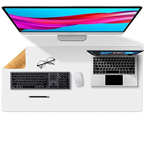 Almohadilla de escritorio de oficina de doble cara de corcho y cuero ecológico,alfombrilla de ratón,protector de escritorio para oficina/juegos en el hogar 80 * 40cm(Blanco)