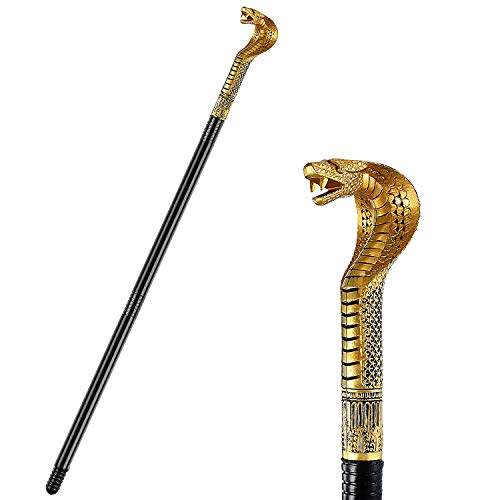 Egyptian Cobra Staff Cobra Cane Snake Walking Stick Cane Prop Costume Accessory for Women Men Halloween Party Theme Party Supplies Black