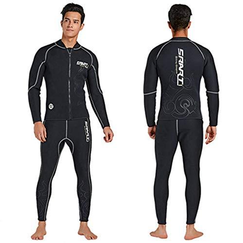 FR&RF Traje de neopreno de 3 mm para hombre, chaqueta separada, forro de toalla a prueba de frío, traje de buceo térmico para buceo profundo, buceo, trajes, XXXL
