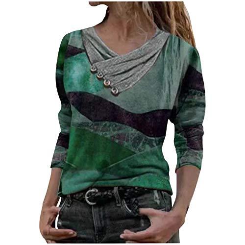 Camisas Mujer Nuevo Blusas para Mujer Sexy Tops Camisetas Camisa Manga Larga Botón Cuello en V, 2021 Novísimo Elegantes Moda Estampado Suelta Sudadera Tapas Geométrico Baratas Tapas(C Verde,L)