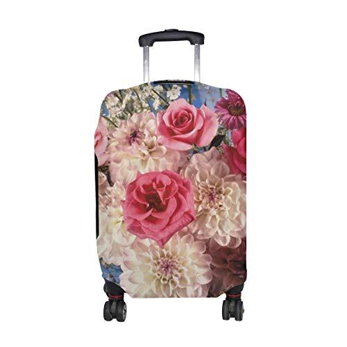 Rosen Dahlien Blumen Blumenstrauß Vase Dekoration Elegante Muster Druck Reisegepäckschutz Gepäck Koffer Abdeckung Für 18-21 Zoll Gepäck
