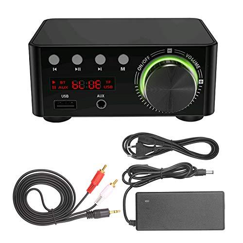 KKmoon Amplificador Audio Estéreo Mini Amplificador Audio BT HiFi Audio Estéreo Amplificador para Cine en Casa Reproductores de Tarjetas USB TF con Cable de Audio Enchufe Negro de la EU