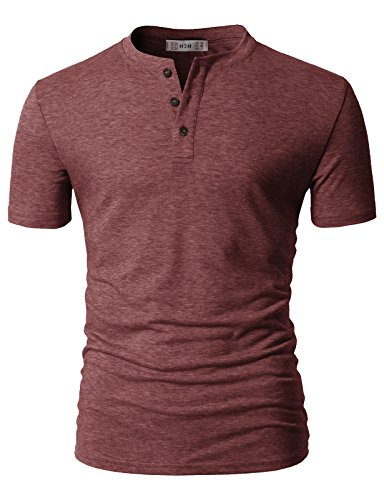 H2H Mens Short Sleeve Slim Fit Henley T-Shirt With Button DARKMAROON US M/Asia L (CMTTS0203)