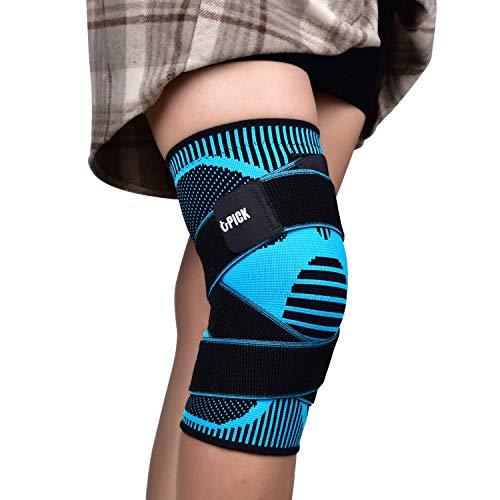 Kniebandage, Elastische Kompressions Knieschoner mit Druckgurt für Herren und Damen, Kniepolster für Laufen, Sport, Volleyball, Crossfit, Basketball (Blau-L)