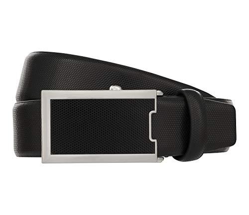 Monti Automatikschließe OSAKA Gürtel Herrengürtel Ledergürtel Schwarz 8028, Länge:105, Farbe:Schwarz