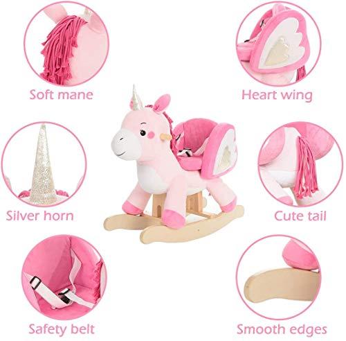 labebe - Baby Rocking Horse, Ride Unicorn, Kid Ride On Toy for 1-3 Year Old, Infant (Boy Girl) Plush Animal Rocker, Toddler/Child Stuffed Ride Toy (Pink)