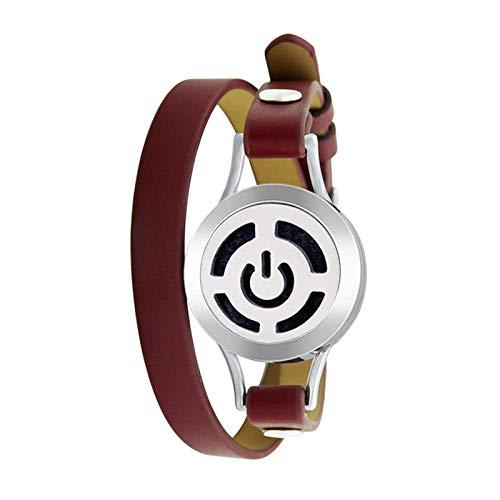 Aroma Diffuser Armband Armreif Edelstahl Armband Hohl Lotus Ätherisches Öl Aromatherapie Armband Leder Double Loop Gürtel Armband-Ss