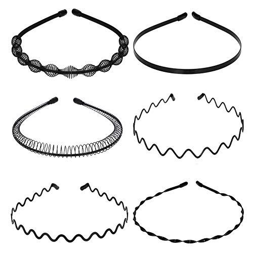 Tagaremuser 6 STÜCKE Metall Haarband Schwarz Spring Wave Haarband Multi-Style Unisex Flexible Stirnband Zubehör für Frauen Männer (Style B)