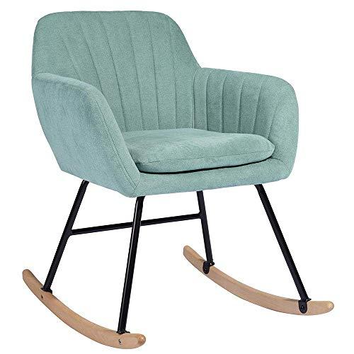 BAKAJI Schaukelstuhl Entspannungsstuhl für Zuhause, Bezug aus Stoff, Gestell aus Holz, Füße aus Metall, Schaukelgestell aus Holz, Größe 79 x 69 x 55 cm, modernes Design (grün)