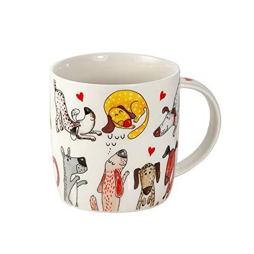 SPOTTED DOG GIFT COMPANY Tasse Hund Kaffeetasse Kaffeebecher Teetasse Porzellanbecher Keramik mit Nette Herz und Hundemotiv Geschenk für Hundebesitzer Hundeliebhaber und Hundefreunde
