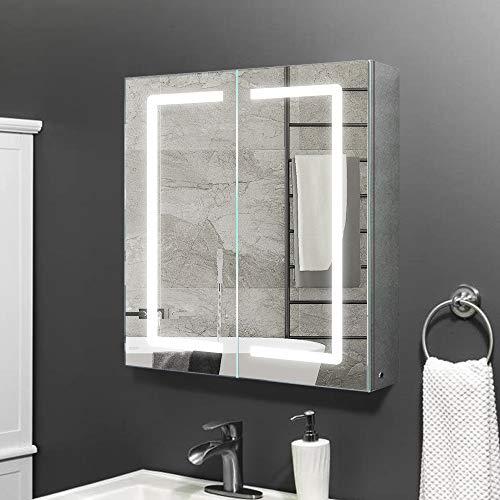 Janboe spiegelschrank Bad mit Beleuchtung 60 cm breit mit Infrarot Sensor Schalter + Antibeschlag-Pad für Make-up-Kosmetik 600 x 700 x 130 mm