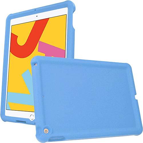 TECHGEAR Parachoques Funda para iPad 10.2' 2020/2019 (8ª/7ª generación) Resistente Antideslizante a Prueba de Golpes de Silicona Suave Funda + Protector de Pantalla - Funda Niños [Azul Claro]