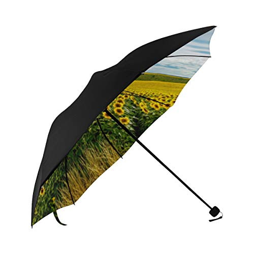 Colored Sunflower Wall Hanging Tapestry Compact Travel Umbrella Sun Parasol Anti Uv Foldable Umbrellas(underside Printing) As Best Present For Women Sun Uv Protection