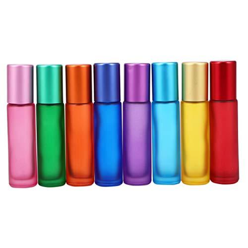 EXCEART 8 Piezas 10 Ml Aceites Esenciales de Vidrio Botellas de Rodillo Rollo Recargable en Frascos de Tubo Frascos Recipientes para Aceites Esenciales Perfumes Bálsamo Labial de