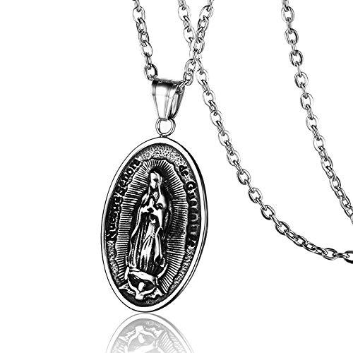 DADATU Virgen María Acero Inoxidable Collar Medalla Guadalupe Colgantes Collares para Joyería Religiosa Ruega por Nosotros