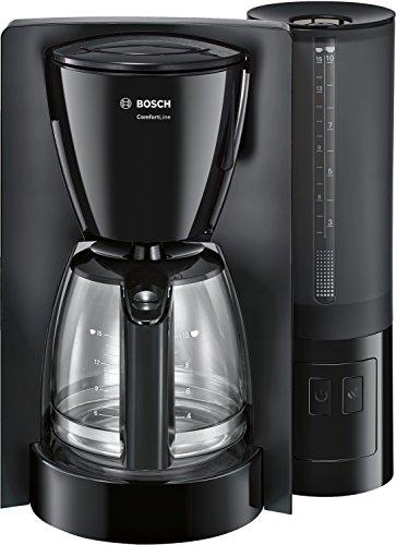 Bosch TKA6A043 ComfortLine Filterkaffeemaschine, Aroma+, Aromaschutz-Glaskanne, Auto-Off wählbar, abnehmbarer Wassertank, 1200 W, schwarz