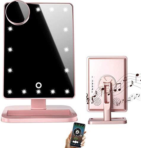 Espejo LED Deluxe - Espejo de maquillaje de vanidad, espejo de maquillaje Bluetooth con pantalla táctil, espejo iluminado con 20 LED, altavoz de audio inalámbrico de pantalla táctil, aumento de 10x de