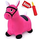 iPlay, iLearn Pink Hopping Horse, Outdoors Ride On Bouncy Animal Play Toys, Inflatable Hopper Plush...