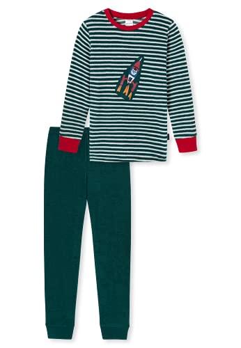 Schiesser Jungen Frottee Schlafanzug – kuschelig, warme Winterqualität Pyjamaset, Mehrfarbig 14, 128