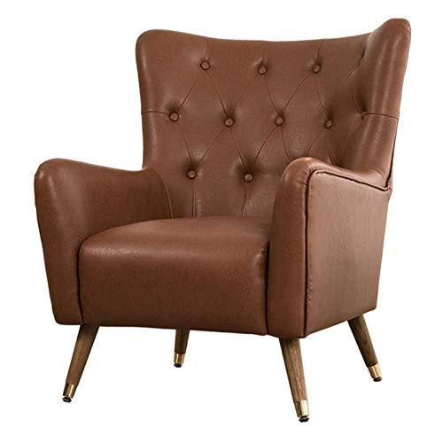 Creator-Z Moderner Sessel skandinavischen Ohrensessel PU mit Holzfüßen,Braun