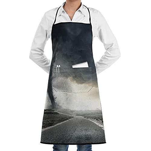 XWJZXS Delantal de cocina impermeable para hombres delantal de chef para mujeres restaurante de jardinería BBQ,Tornado negro embudo de gas y truenos rodando en la carretera humo desastre monocromo