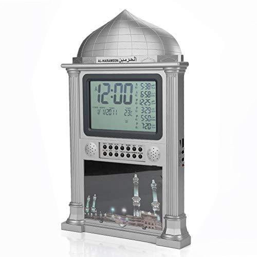 1 Stücke Kunststoff Azan Gebet Nimaz Uhr, Digitalen Kalender Zeitanzeige Wecker Wanduhr mit LCD-Anzeige(Grey)