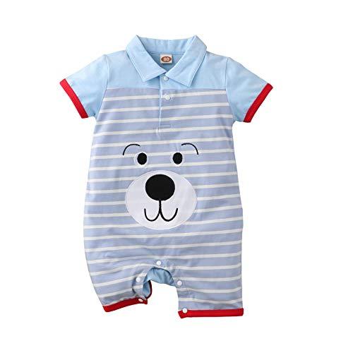 Dazzerake 2 piezas simpáticas de dibujos animados de bebé con diseño de rayas de manga corta con solapa de algodón de manga larga y pantalones cortos Animal Azul 3-6 meses
