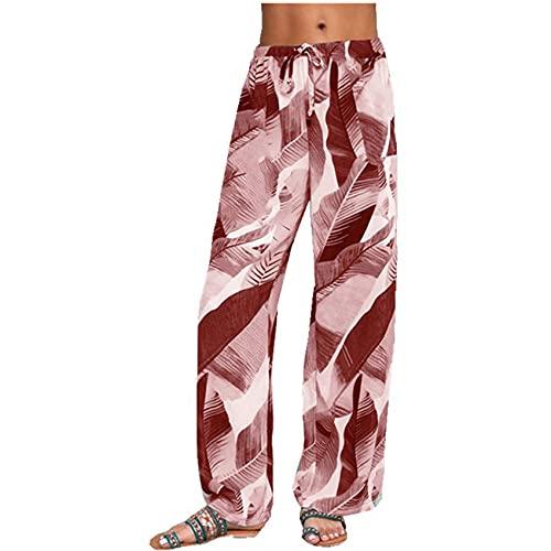 Pantalones Deportivos De Pierna Ancha De Yoga con Estampado De Hojas De Moda Simple para Mujer
