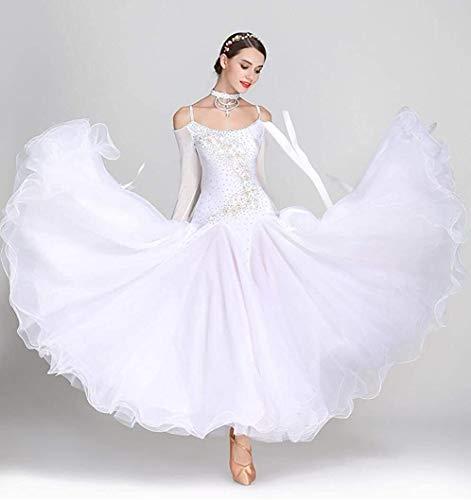 JTSYUXN Frauen-Gesellschaftstanz-Turnierkleid Waltz Tango Tanzkleid Großer Swing Rock Dress Ballroom Modern Dance Dress National Standard Dress (Color : F, Size : L)