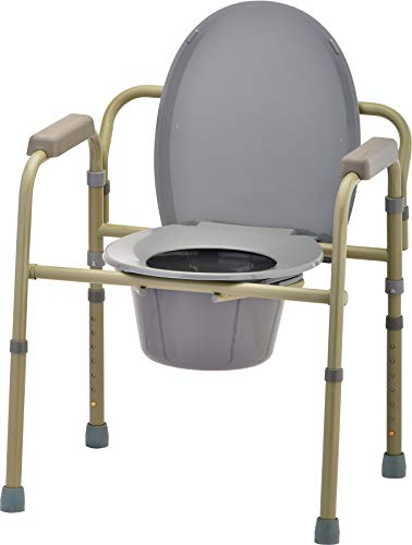 NOVA Medical Products Folding Commode, Over Toilet and Bedside Commode, Comes with Splash Guard/ Bucket/ Lid, Gray, 1 Count