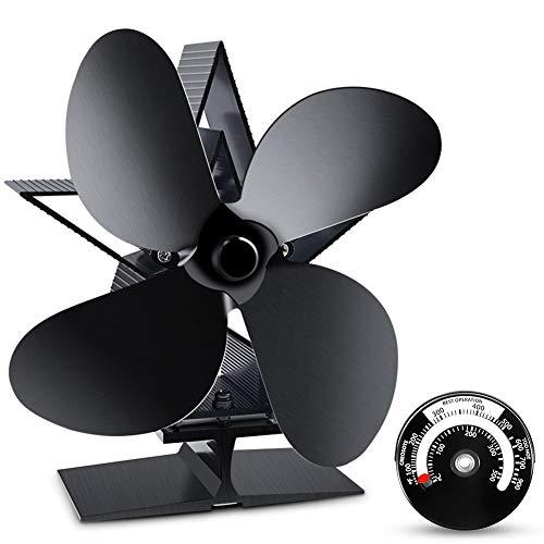 2020 Ofenventilator mit Stove Thermometer, ZOTO Stromloser Ventilator Stummschaltung + Doppelte Sicherheit, Hitzebetriebener Kaminventilator für Holz/Holzofen/Kamin