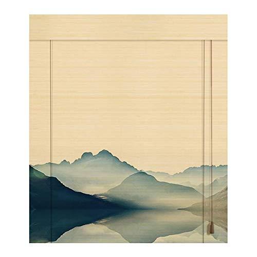 WUFENG Bambus Rollo Staubdicht Schatten Drucken Rollo Hintergrund Dekoration Umweltfreundlich, Mehrere Größen Anpassbar Türvorhang (Farbe : A, größe : 60x180cm)
