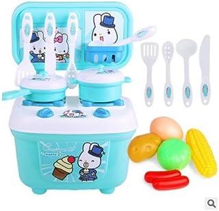 子供の遊びのおもちゃの親子の相互作用ないバーパズルの啓発シミュレーションの食事の台所のセット ( Color : ブルー )