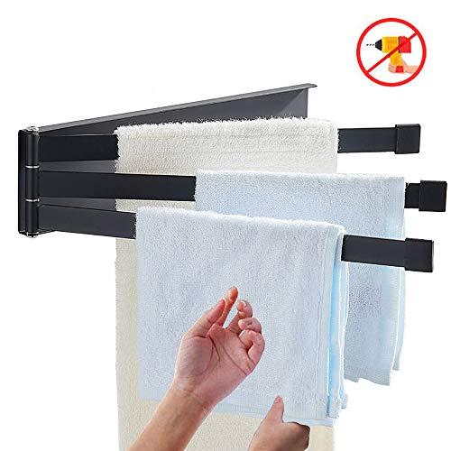 Badetuchhalter, 3 Stangen, ausklappbarer Arm, 22,9 cm, Wandmontage, verstellbare schwenkbare Kleiderstange, Badezimmer-Aufhänge-Set, Trocken-Halterung für Waschlappen, Baden a