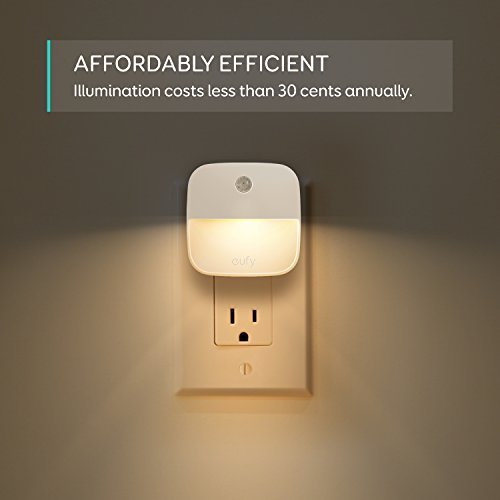 eufy by Anker, Lumi Plug-in Night Light, Warm White LED, Dusk-to-Dawn Sensor, Bedroom, Bathroom, Kitchen, Hallway, Stairs, Energy Efficient, Compact, Light 4-Pack