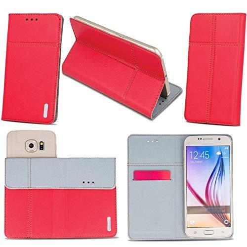Supercase24 für Alcatel Pop 4S Handy Tasche Book Case Klapp Cover Schutz Etui Hülle in rot