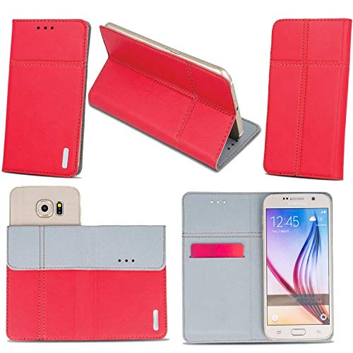 Supercase24 Archos Core 55S Handy Tasche Book Case Klapp Cover Schutz Etui Hülle in rot