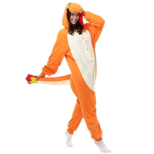 FZC-YM Adulto Charmander Onesie Pijamas de Lana Polar Ropa de Dormir de Dibujos Animados Animal Halloween Cosplay Disfraz Unisex (S (Altura 4 '10-5' 2)) Naranja