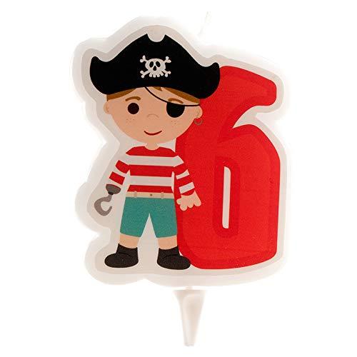 Dekora- Bougie Pirate | Bougie d'Anniversaire 2D du Pirate pour Gâteaux des Enfants - Numero 6 (345260)